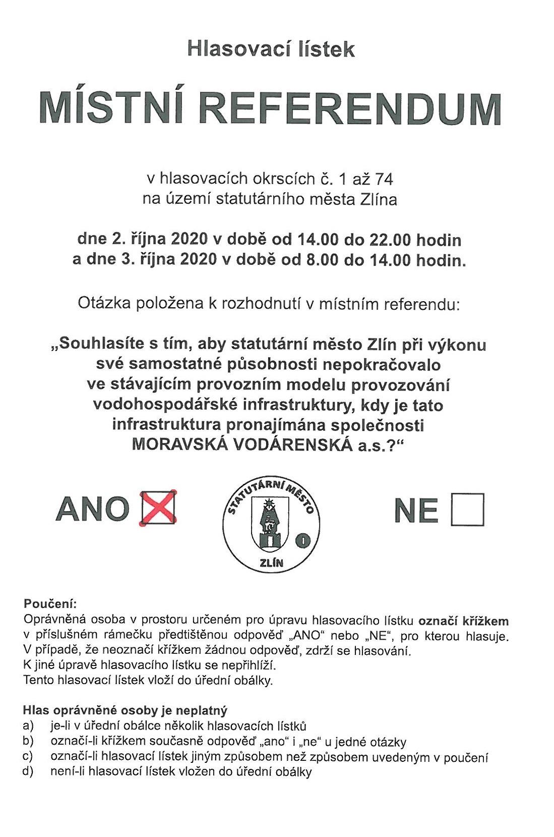 Hlasovací lístek - volte ANO